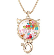 Sojewe Women Clear Cat Long Necklace Multicolor Crystal on Pendant Gold Plated Fashion Accessories