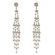 Wedding Earrings Silver Crystal 100mm Cubic Zirconia 5-Line Dangle Earring