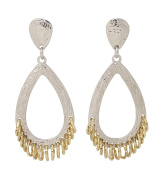 Two Tones Dangle Earrings with Golden Rings