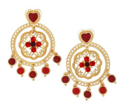 Golden Filigree Statement Earrings with Red Crystals