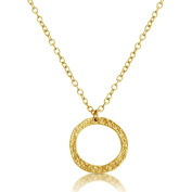 Midsize Hammered Ring Pendant Necklace