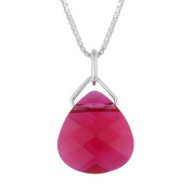Sterling Silver Elements Pink Red Pendant Necklace, 46cm