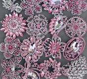 5 Pink Rhinestone Brooch Pink Back X LARGE Crystal Wedding Bridal Brooch Bouquet Invitation Cake Decoration Hair Comb BR990