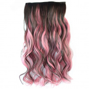 Sexy Synthetic Long Curl Two Tone Ombre Hairpiece Clip-on Wig Hair Extension Beauty Tool Brown to Pink