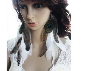 Natural Feather Earrings White Peacock Feather Earrings for Women