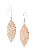 Poonsuk@lucky Stainless Steel Rose Gold Colour Leaves Shaped Fashion Earrings for Women Drop Earrings.