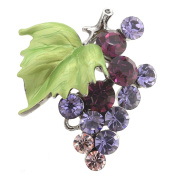 Multi Purple Bunch Of Grapes Crystal Pin Brooch