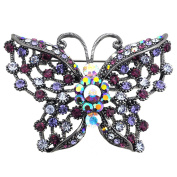 Purple Butterfly Pin Crystal Pin Brooch and Pendant