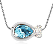 Sojewe Women Fish Necklace Blue Elements Crystal on Pendant White Gold Plated