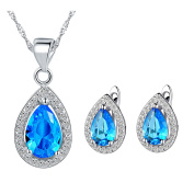 Jewellery Sets, Layla White Gold Plated Crystal Bridal Pendant Necklace Earrings Sets