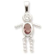 925 Sterling Silver June Glass Birth Month Stone & CZ Boy Polished Charm Pendant