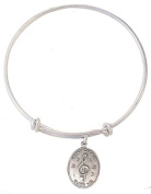 Silver Tone Bangle Bracelet with Pewter Saint Cecilia Music Medal, 19cm