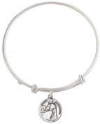 Silver Tone Bangle Bracelet with Pewter Saint Peregrine Medal, 19cm