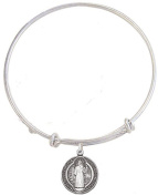 Silver Tone Bangle Bracelet with Pewter Saint Benedict Medal, 19cm
