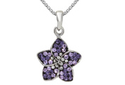 Sterling Silver Purple Flower Pendant Necklace With Genuine Crystals