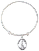 Girls Silver Tone Bangle Bracelet with Saint Christopher Volleyball Medal, 19cm