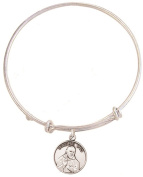 Silver Tone Bangle Bracelet with Pewter Saint Padre Pio Medal, 19cm