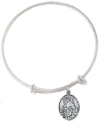 Silver Tone Bangle Bracelet with Pewter Guardian Angel Medal, 19cm