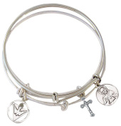 Silver Tone Bangle Bracelet with Pewter Holy Spirit Sacred Heart and Crucifix Medals, 19cm