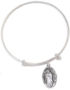 Silver Tone Bangle Bracelet with Pewter Our Lady of Guadalupe Medal, 19cm