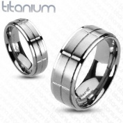 Solid Titanium Brushed Cross Grooved Centre Band Ring - Width: Size 5-8: 6mm / Size 9-13
