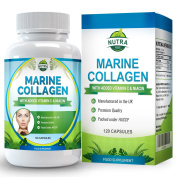 Marine Collagen Complex, High Strength Anti-Wrinkle Supplement with Niacin & Vitamin C, Tired Skin Will Gain More Elasticity and Feel Rejuvenated - 120 Capsules