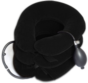 Takit NK4 - Cervical Neck Traction Device for Head & Shoulder Pain - Inflatable Neck Pillow / Cervical Traction Pillow - With Adjustable Size, Bigger Pump, Extended Hook and loop, Premium, Durable & High Quality - Black