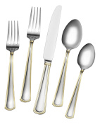 Gourmet Basics by Mikasa Universal Gold 20-Piece Stainless Steel Flatware Set, Service for 4