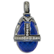 Blue Water Drop Crystal Russian Faberge Egg Pendant Necklace 48cm