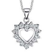 Sterling Silver CZ Classic Traditional Heart Pendant Necklace Cubic Zirconias