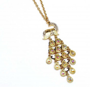Crystal Peacock Necklace G2 AB Crystals Gold Tone 80cm Long Elegant