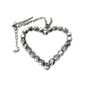 Large Gunmetal Heart Long Necklace G12 Crystal Hematite Grey