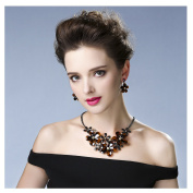 Hamer Charm Flowers Choker Statement Necklace and Earrings Pendant Jewellery Sets for Women