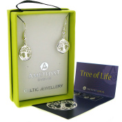 Silver Plated Drop Earrings In Tree Of Life Design
