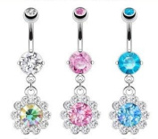 Emeco® Stainless Round Flower Belly Bar Piercing NAL12129 x