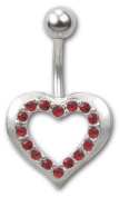 Trend Accessory Zone Piercing, Belly Bar, Heart, Red Crystals, 1.6 x 10 mm, Rustproof, Non Oxidising, Anti Allergen, No 160051