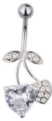 Jewellery Piercing Trend Zone, Stainless, Belly Bar, Banana with Heart, Cherries, 1.6 x 10 mm, Zirconia White, Crystal, No 1600498
