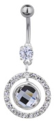 Trend Accessory Zone Piercing, Belly Rings, Crystal White, Rund, 1.6 x 10 mm, Stainless Steel, Anti Allergen, No 160114