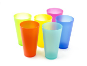 6 Pc Colourful Plastic Cups - Reusable Party Cups - BPA-Free Picnic Drinking Cups