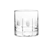 """Qualia Glass 9.5cm """"Gulfstream"""" Double Old Fashioned High Glasses with Vertical Cuts and Circular Design, 410ml, Set of 4"""