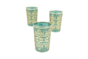 Casablanca Market Moroccan Tunis Tea Glasses, 10cm by 6.4cm , Aquamarine, Set of 6