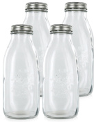Estilo Dairy Reusable Glass Milk Bottles with Metal Lids (Set of 4), 1000ml, Clear