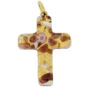 Murano Glass Venetian Reflections Cross Pendant - Purple Gold