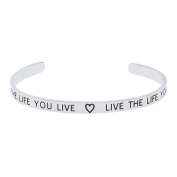 """High Polished Stainless Steel """"Love The Life You Live, Live The Life You Love"""" Inspirational Bracelet"""