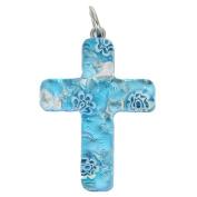 Murano Glass Venetian Reflections Cross Pendant - Aqua Silver