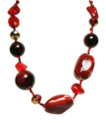 Necklace - Deep Red Coloured Polished Stone Necklace - Kiki's Reds