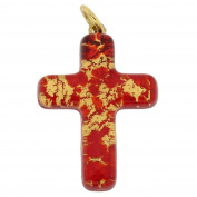 Murano Glass Venetian Reflections Cross Pendant - Red Gold