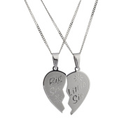 Sisters Pendant Set Big Sis Lil Sis High Polished Stainless Steel Heart Necklace with Rolo Chain