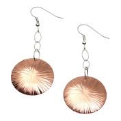 Chased Disc Copper Dangle Earrings By John Brana Handmade Jewellery Durable Copper Earrings