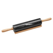 New Black Marble 26cm Rolling Pin Wooden Handle With Marble Rolling Pin With Stand